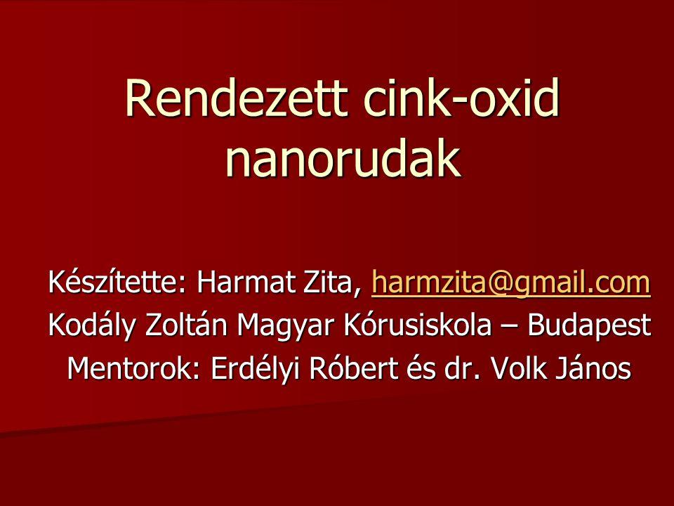 Cink-oxid nanorudak alkalmazásai (c) UV nanolézer Nanogenerátor Nanolencse Cink-oxid legfontosabb tulajdonságai: -Piezoelektromosság -Félvezető -Biokompatibilitás