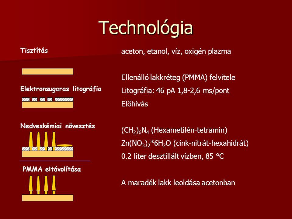 Technológia Elektronsugaras litográfia Tisztítás Nedveskémiai növesztés PMMA eltávolítása PMMA aceton, etanol, víz, oxigén plazma Ellenálló lakkréteg (PMMA) felvitele Litográfia: 46 pA 1,8-2,6 ms/pont Előhívás (CH 2 ) 6 N 4 (Hexametilén-tetramin) Zn(NO 3 ) 2 *6H 2 O (cink-nitrát-hexahidrát) 0.2 liter desztillált vízben, 85 °C A maradék lakk leoldása acetonban