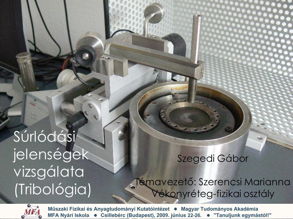 Méréseink Szilícium - relatív sebesség hatása a súrlódási együtthatóra - kenőanyag szerepe a súrlódásra Üveg - relatív sebesség hatása a súrlódási együtthatóra - nyomóerő szerepe a súrlódási együtthatóra - kenőanyag szerepe a súrlódásra Mérési körülmények: - szobahőmérséklet - levegő - levegő aktuális páratartalma mellett - próbatest: acélgolyó