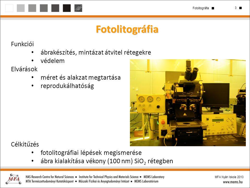 3 Fotolitográfia MFA Nyári Iskola 2013 Fotolitográfia Funkciói ábrakészítés, mintázat átvitel rétegekre védelem Elvárások méret és alakzat megtartása