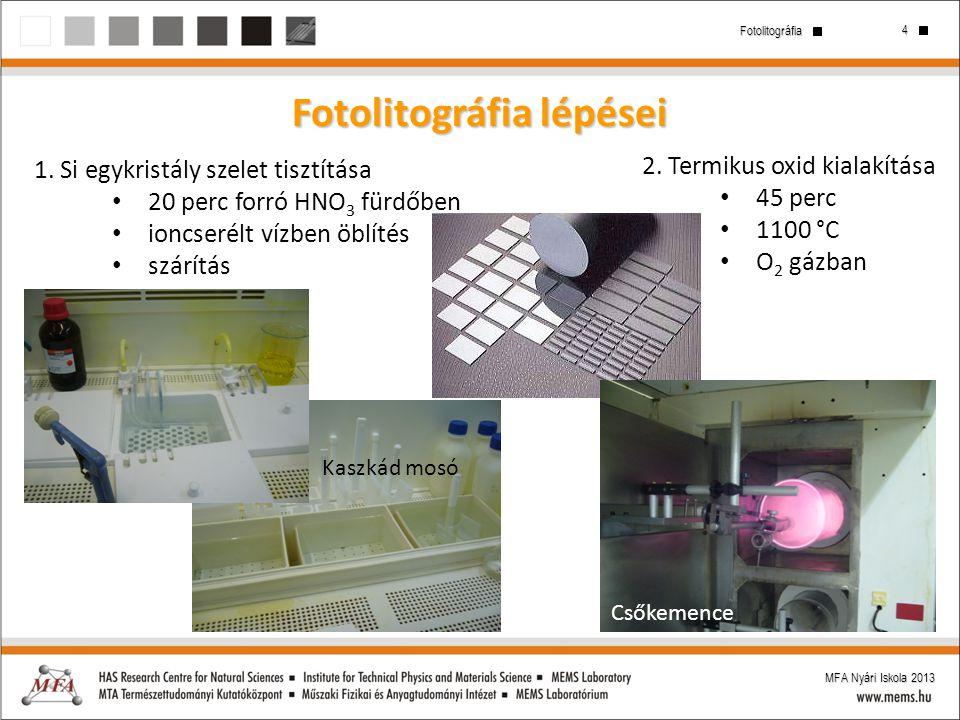 4 Fotolitográfia MFA Nyári Iskola 2013 Fotolitográfia lépései 1. Si egykristály szelet tisztítása 20 perc forró HNO 3 fürdőben ioncserélt vízben öblít