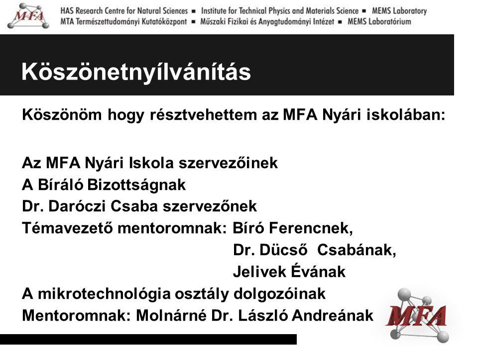 Köszönetnyílvánítás Köszönöm hogy résztvehettem az MFA Nyári iskolában: Az MFA Nyári Iskola szervezőinek A Bíráló Bizottságnak Dr. Daróczi Csaba szerv