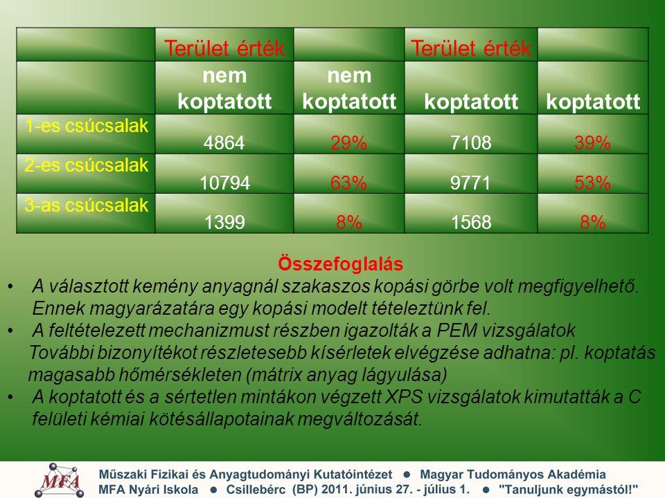Terület érték nem koptatott koptatott 1-es csúcsalak 486429%710839% 2-es csúcsalak 1079463%977153% 3-as csúcsalak 13998%15688% Összefoglalás A választ