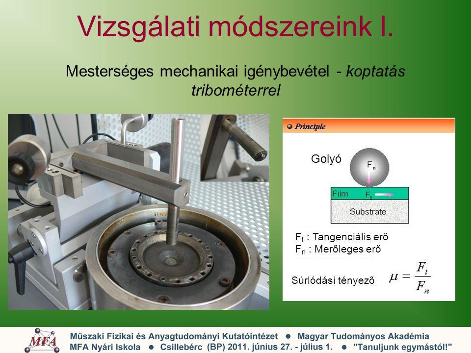 Vizsgálati módszereink I. Mesterséges mechanikai igénybevétel - koptatás tribométerrel Golyó F t : Tangenciális erő F n : Merőleges erő Súrlódási tény