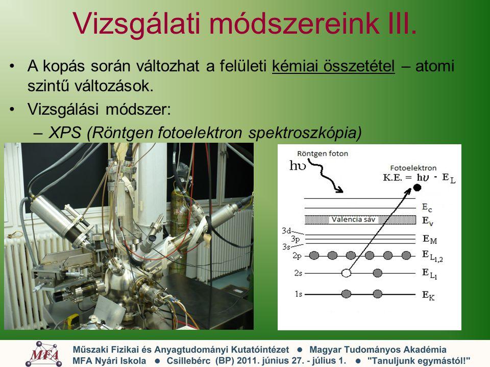 Vizsgálati módszereink III. A kopás során változhat a felületi kémiai összetétel – atomi szintű változások. Vizsgálási módszer: –XPS (Röntgen fotoelek