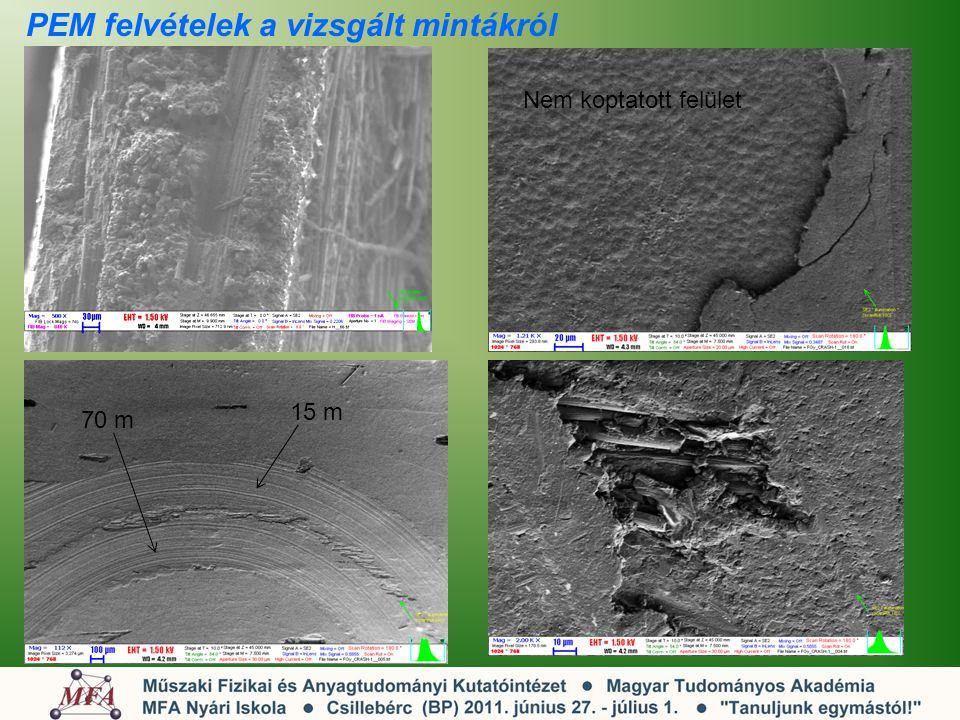 PEM felvételek a vizsgált mintákról 15 m 70 m Nem koptatott felület