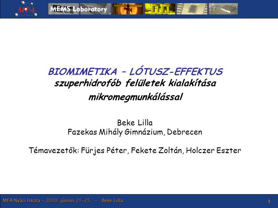MFA Nyári Iskola - 2010. június 21-25. - Beke Lilla 1 BIOMIMETIKA – LÓTUSZ-EFFEKTUS szuperhidrofób felületek kialakítása mikromegmunkálással Beke Lill