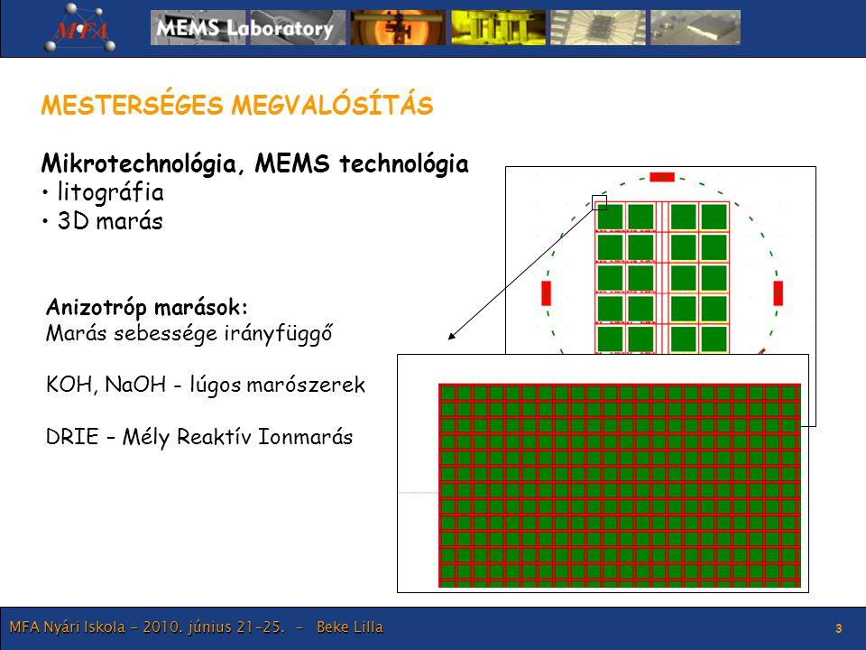 MFA Nyári Iskola - 2010. június 21-25. - Beke Lilla 3 MESTERSÉGES MEGVALÓSÍTÁS Mikrotechnológia, MEMS technológia litográfia 3D marás Anizotróp maráso