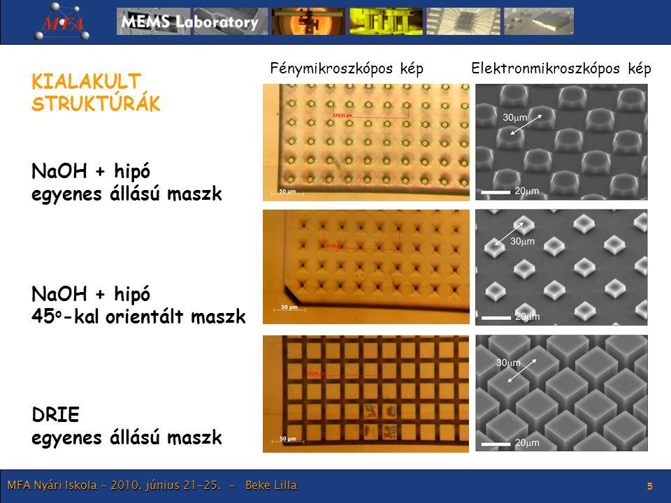 MFA Nyári Iskola - 2010. június 21-25. - Beke Lilla 5 KIALAKULT STRUKTÚRÁK NaOH + hipó egyenes állású maszk NaOH + hipó 45 o -kal orientált maszk DRIE