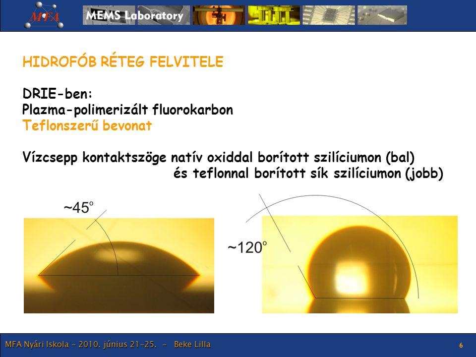 MFA Nyári Iskola - 2010. június 21-25. - Beke Lilla 6 HIDROFÓB RÉTEG FELVITELE DRIE-ben: Plazma-polimerizált fluorokarbon Teflonszerű bevonat Vízcsepp