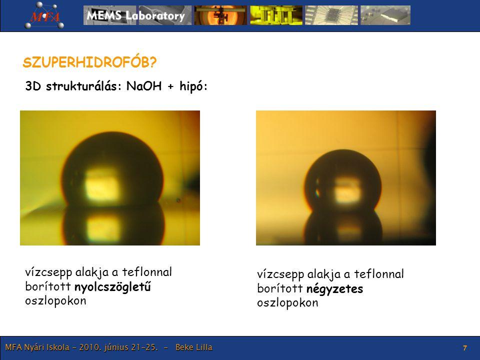 MFA Nyári Iskola - 2010. június 21-25. - Beke Lilla 7 SZUPERHIDROFÓB? vízcsepp alakja a teflonnal borított nyolcszögletű oszlopokon vízcsepp alakja a