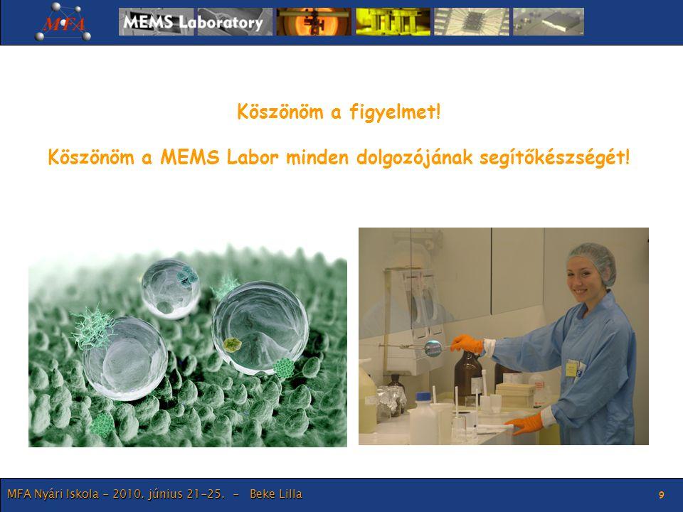 MFA Nyári Iskola - 2010. június 21-25. - Beke Lilla 9 Köszönöm a figyelmet! Köszönöm a MEMS Labor minden dolgozójának segítőkészségét!