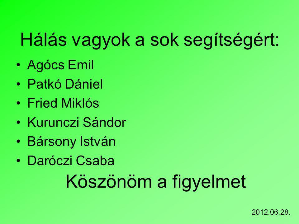 Hálás vagyok a sok segítségért: Agócs Emil Patkó Dániel Fried Miklós Kurunczi Sándor Bársony István Daróczi Csaba Köszönöm a figyelmet 2012.06.28.