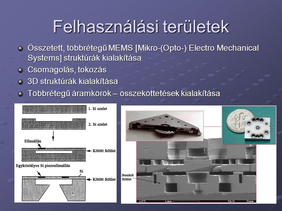 Felhasználási területek Összetett, többrétegű MEMS [Mikro-(Opto-) Electro Mechanical Systems] struktúrák kialakítása Csomagolás, tokozás 3D struktúrák kialakítása Többrétegű áramkörök – összeköttetések kialakítása