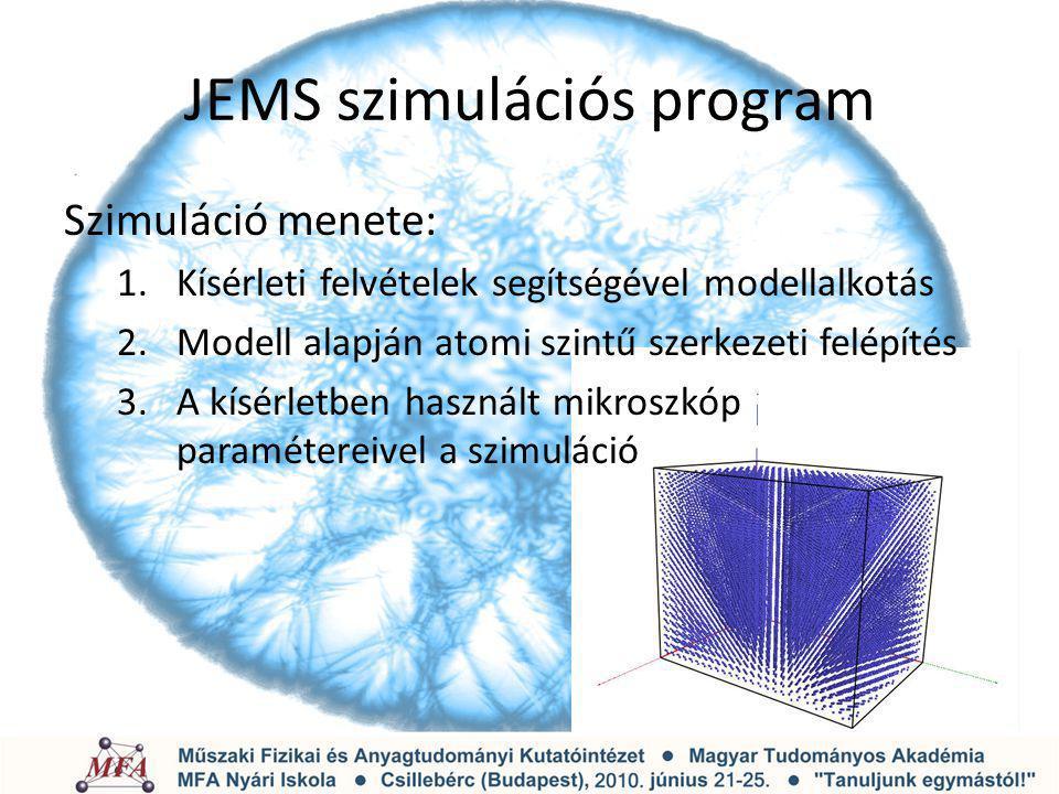 JEMS szimulációs program Szimuláció menete: 1.Kísérleti felvételek segítségével modellalkotás 2.Modell alapján atomi szintű szerkezeti felépítés 3.A k