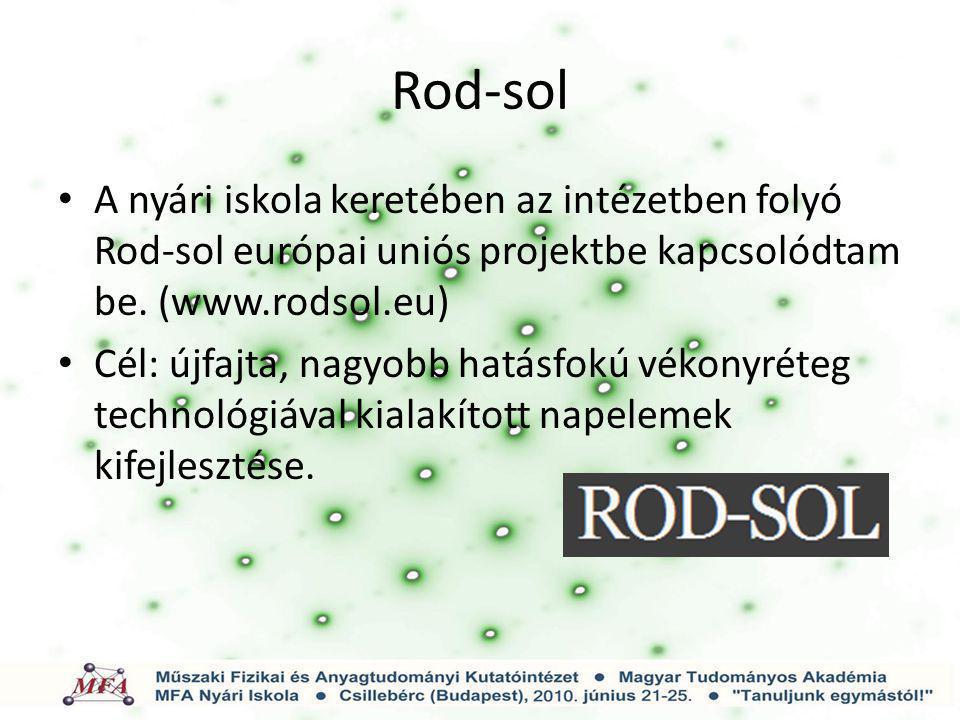 Rod-sol A nyári iskola keretében az intézetben folyó Rod-sol európai uniós projektbe kapcsolódtam be. (www.rodsol.eu) Cél: újfajta, nagyobb hatásfokú