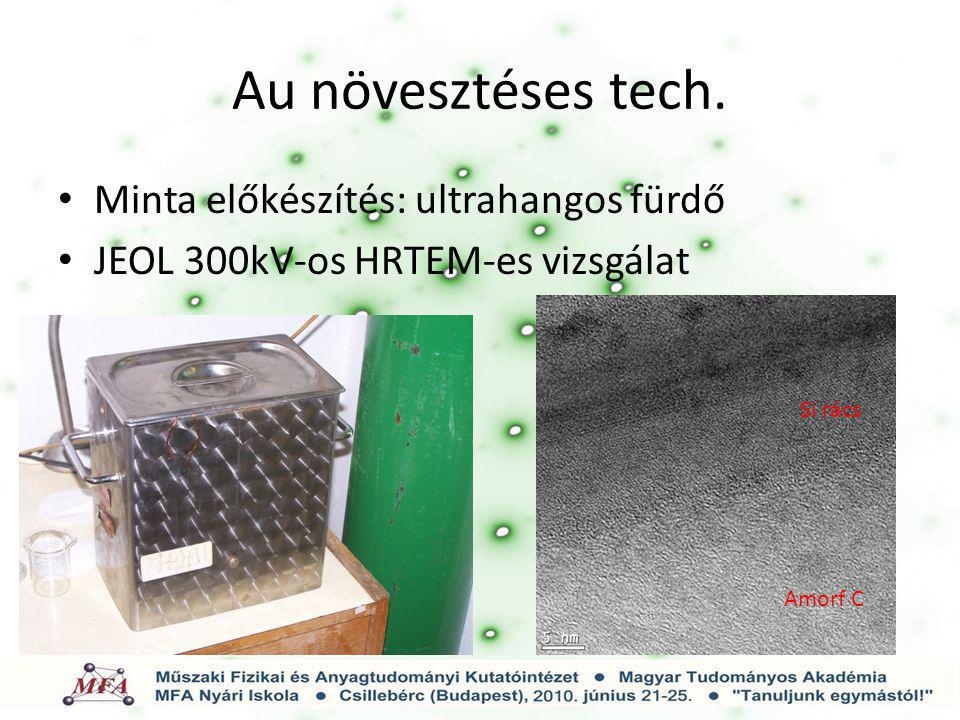 Au növesztéses tech. Minta előkészítés: ultrahangos fürdő JEOL 300kV-os HRTEM-es vizsgálat Si rács Amorf C