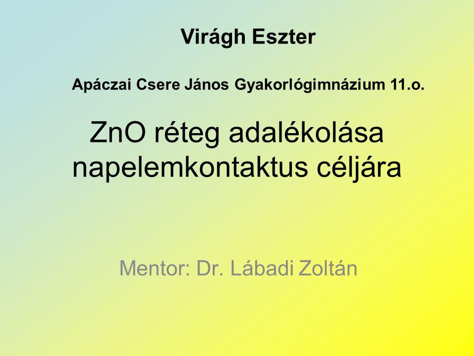 ZnO réteg adalékolása napelemkontaktus céljára Mentor: Dr. Lábadi Zoltán Virágh Eszter Apáczai Csere János Gyakorlógimnázium 11.o.