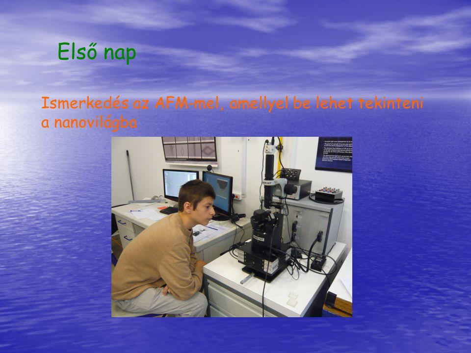 Első nap Ismerkedés az AFM-mel, amellyel be lehet tekinteni a nanovilágba