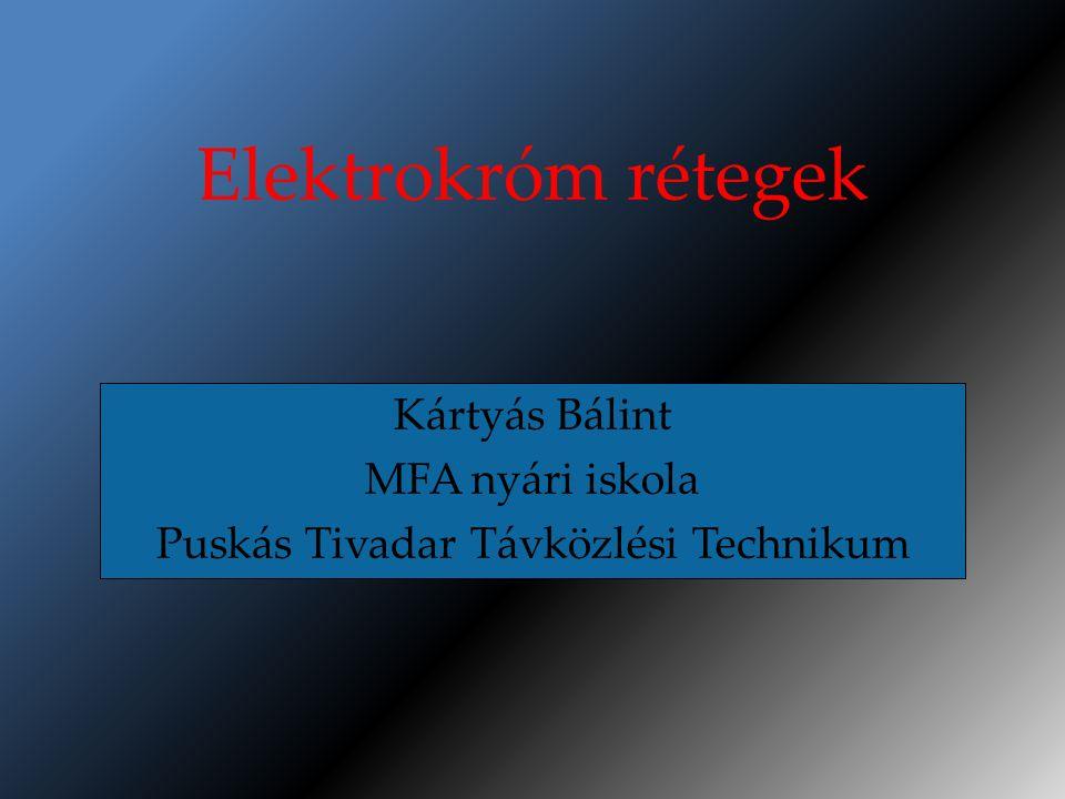 Elektrokróm rétegek Kártyás Bálint MFA nyári iskola Puskás Tivadar Távközlési Technikum
