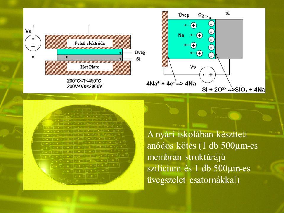 A nyári iskolában készített anódos kötés (1 db 500µm-es membrán struktúrájú szilícium és 1 db 500µm-es üvegszelet csatornákkal)