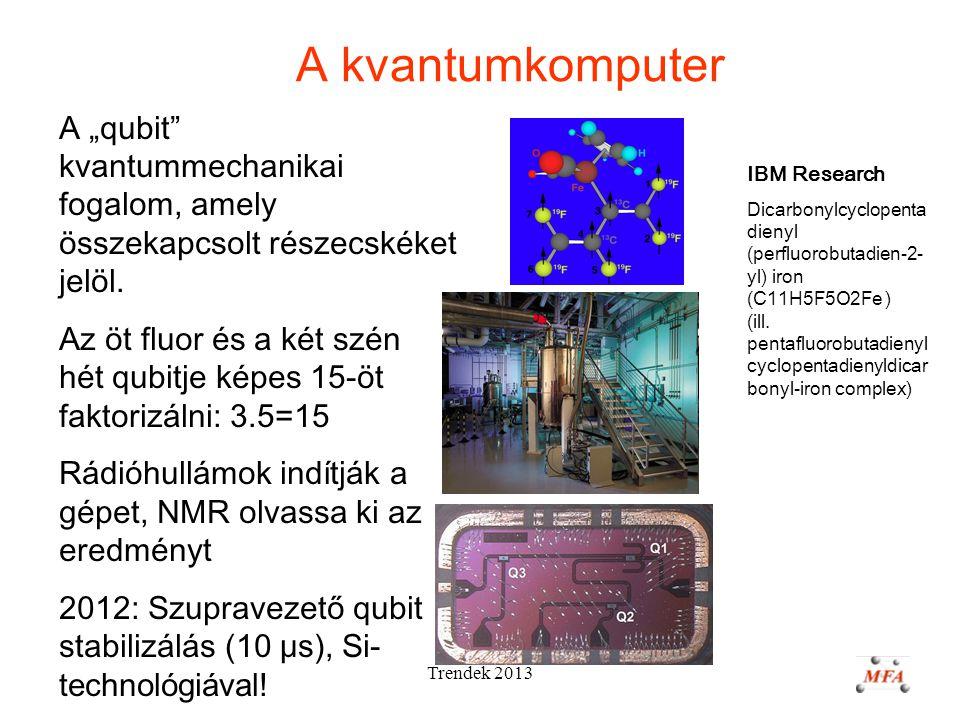 """Trendek 2013 A kvantumkomputer A """"qubit kvantummechanikai fogalom, amely összekapcsolt részecskéket jelöl."""