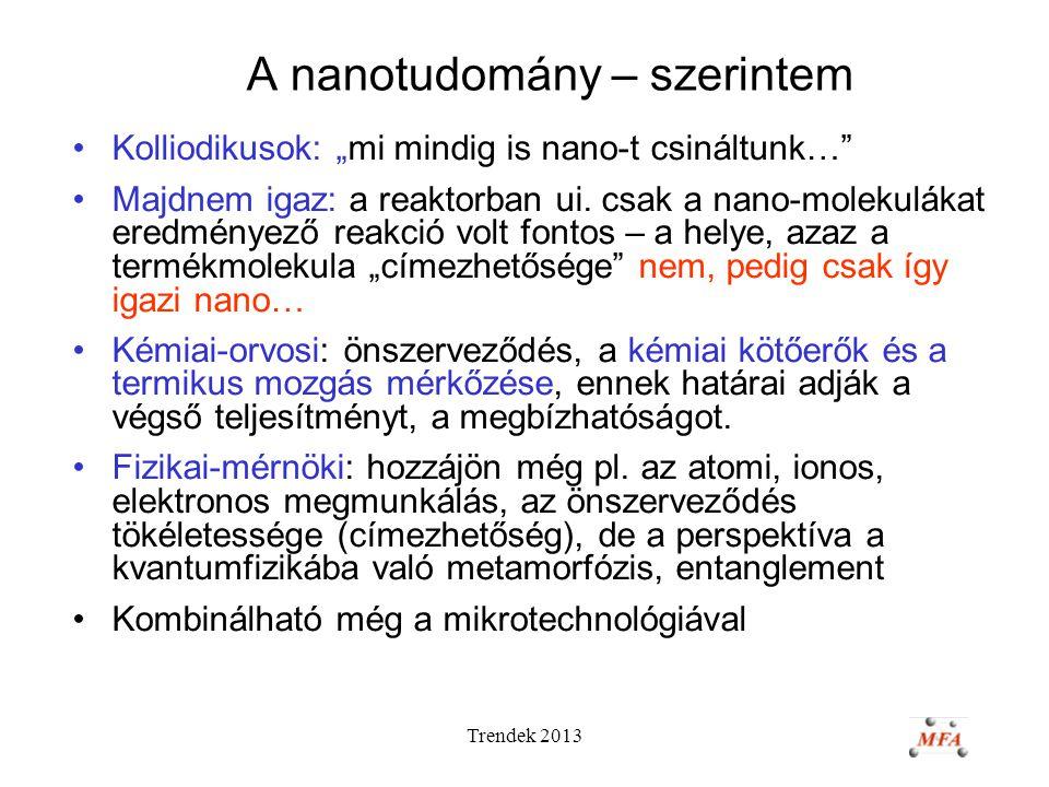 """Trendek 2013 A nanotudomány – szerintem Kolliodikusok: """"mi mindig is nano-t csináltunk… Majdnem igaz: a reaktorban ui."""
