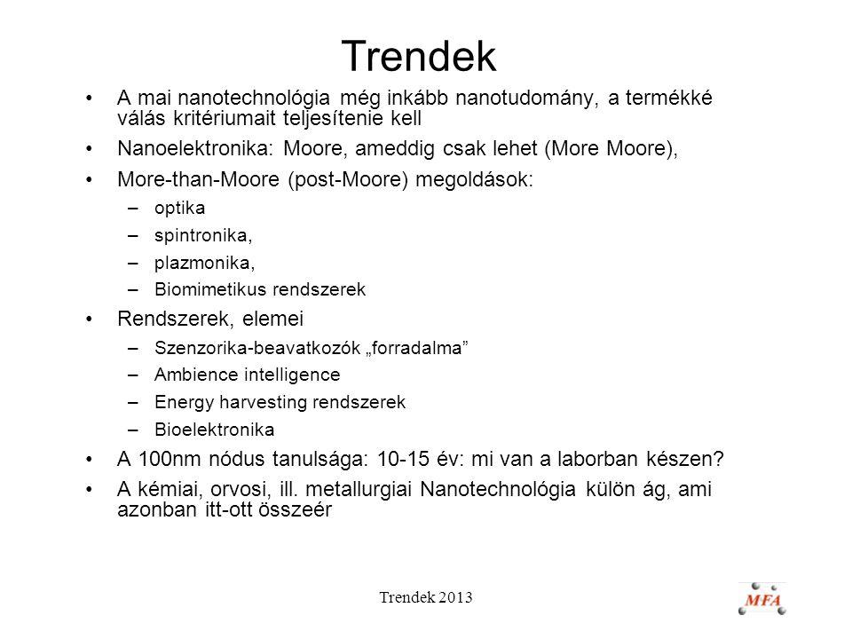 """Trendek 2013 Trendek A mai nanotechnológia még inkább nanotudomány, a termékké válás kritériumait teljesítenie kell Nanoelektronika: Moore, ameddig csak lehet (More Moore), More-than-Moore (post-Moore) megoldások: –optika –spintronika, –plazmonika, –Biomimetikus rendszerek Rendszerek, elemei –Szenzorika-beavatkozók """"forradalma –Ambience intelligence –Energy harvesting rendszerek –Bioelektronika A 100nm nódus tanulsága: 10-15 év: mi van a laborban készen."""