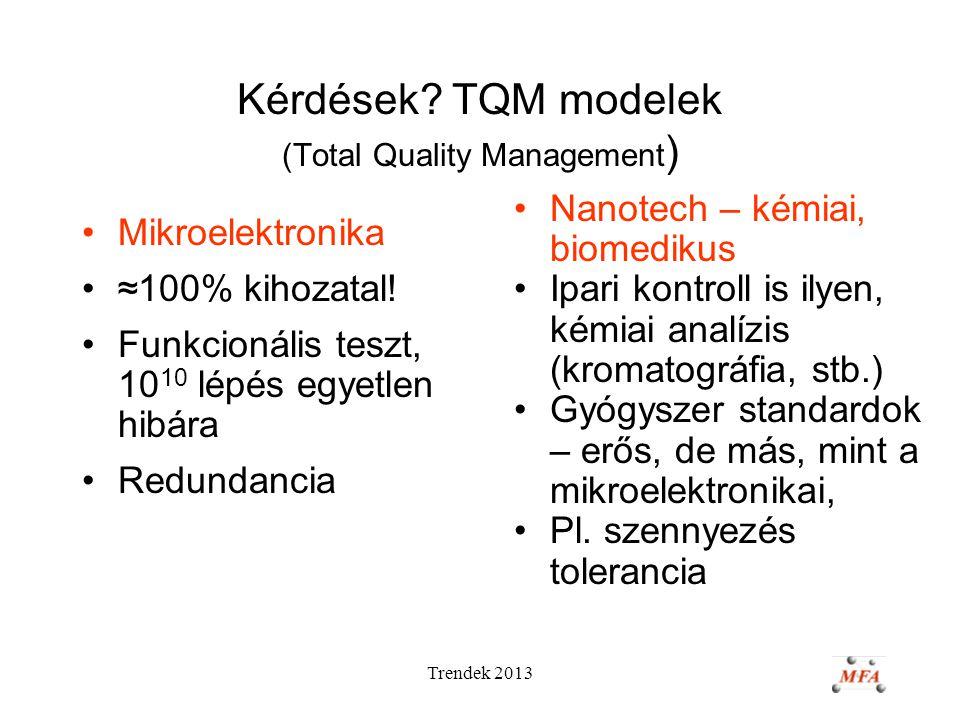 Trendek 2013 Kérdések? TQM modelek (Total Quality Management ) Mikroelektronika ≈100% kihozatal! Funkcionális teszt, 10 10 lépés egyetlen hibára Redun