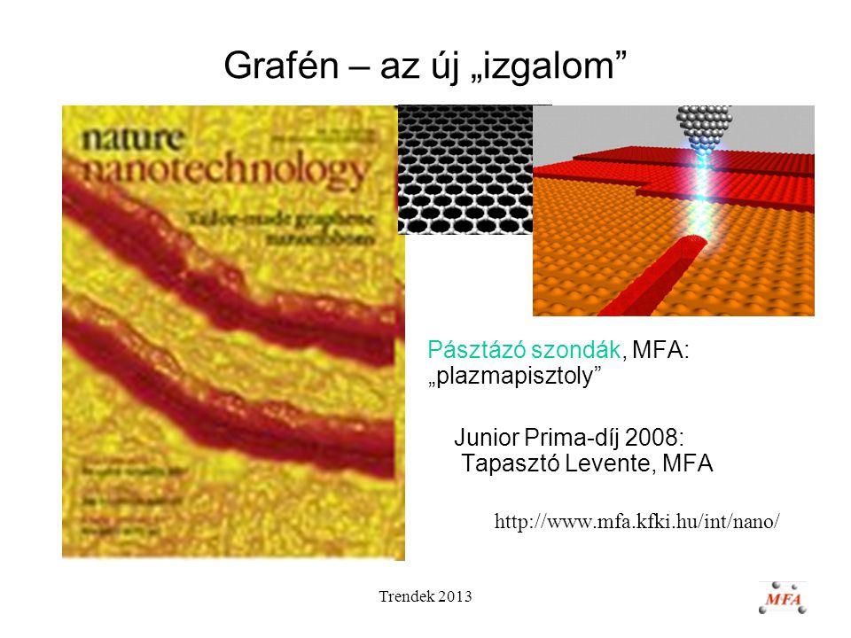 """Trendek 2013 Grafén – az új """"izgalom Pásztázó szondák, MFA: """"plazmapisztoly Junior Prima-díj 2008: Tapasztó Levente, MFA http://www.mfa.kfki.hu/int/nano/"""