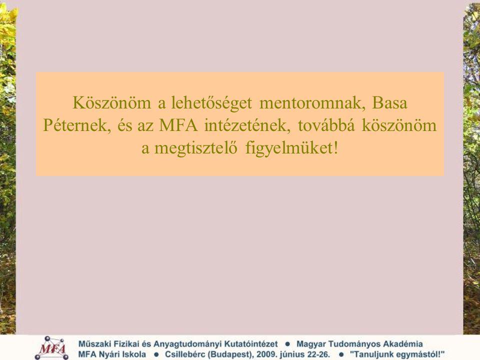 Köszönöm a lehetőséget mentoromnak, Basa Péternek, és az MFA intézetének, továbbá köszönöm a megtisztelő figyelmüket!