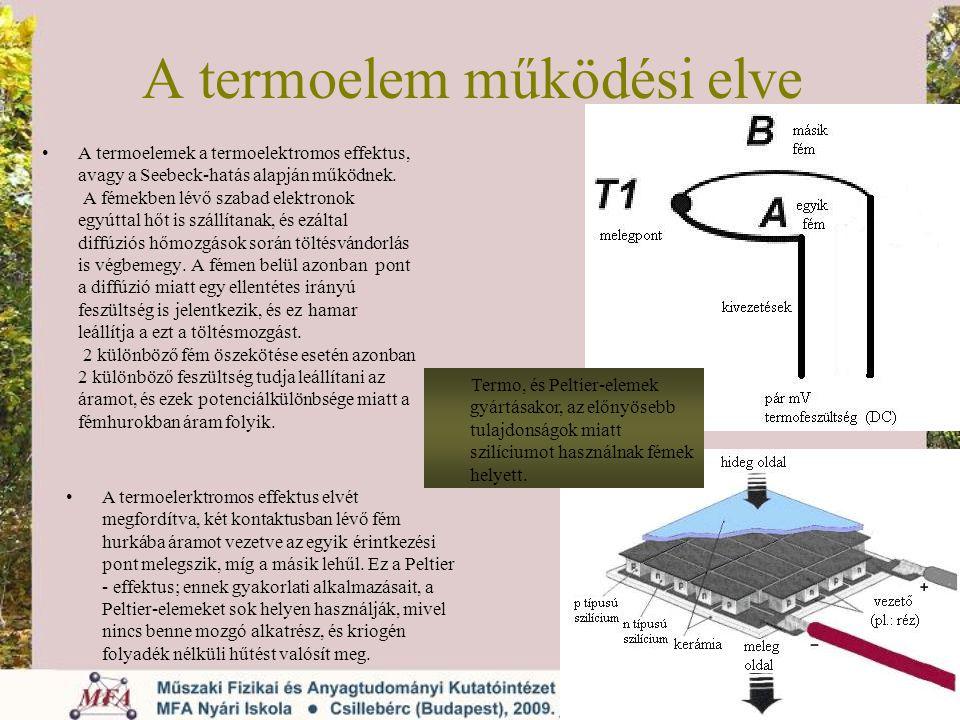 A termoelem működési elve A termoelemek a termoelektromos effektus, avagy a Seebeck-hatás alapján működnek. A fémekben lévő szabad elektronok egyúttal