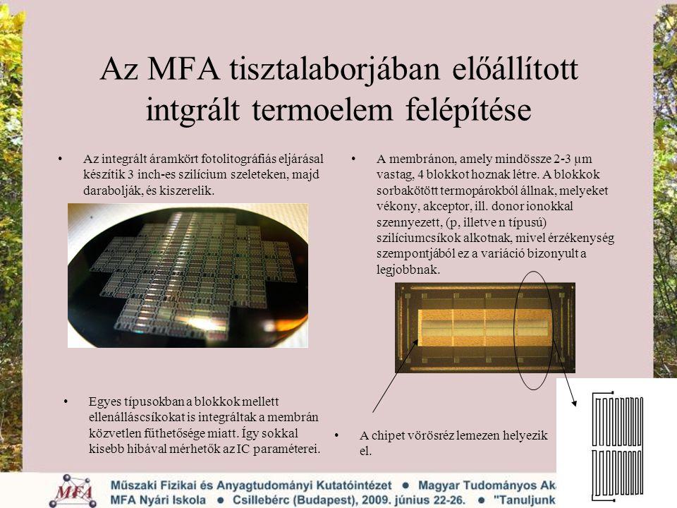 Az MFA tisztalaborjában előállított intgrált termoelem felépítése Az integrált áramkört fotolitográfiás eljárásal készítik 3 inch-es szilícium szelete
