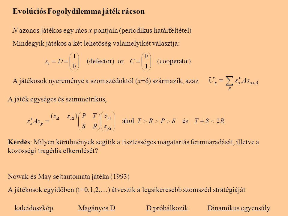 Evolúciós Fogolydilemma játék rácson N azonos játékos egy rács x pontjain (periodikus határfeltétel) Mindegyik játékos a két lehetőség valamelyikét vá