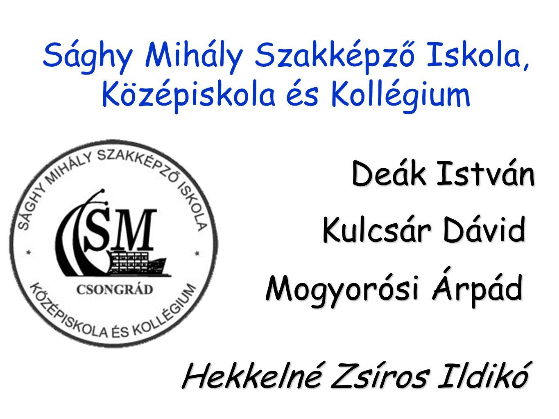 Sághy Mihály Szakképző Iskola, Középiskola és Kollégium Deák István Kulcsár Dávid Mogyorósi Árpád Hekkelné Zsíros Ildikó