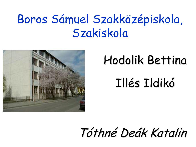 Boros Sámuel Szakközépiskola, Szakiskola Hodolik Bettina Illés Ildikó Tóthné Deák Katalin