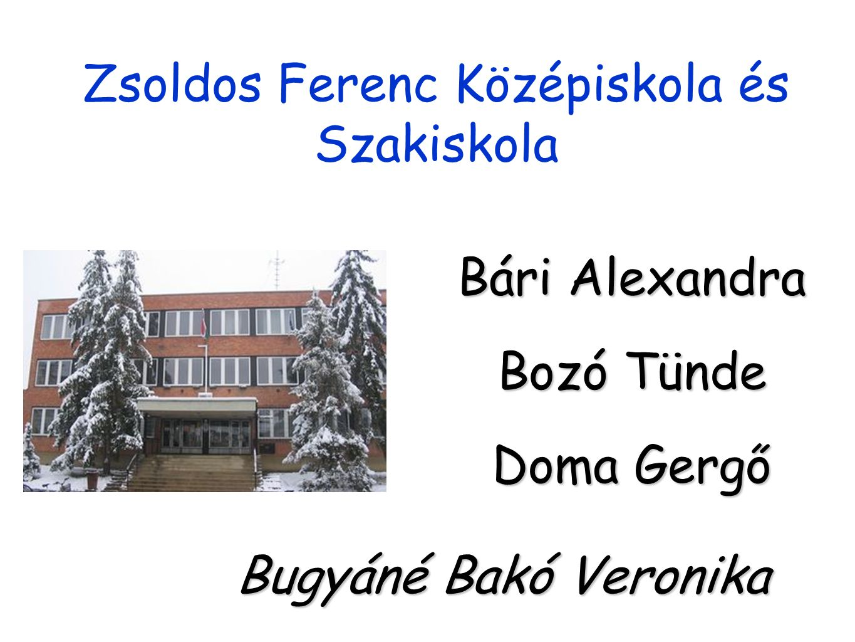 Zsoldos Ferenc Középiskola és Szakiskola Bári Alexandra Bozó Tünde Doma Gergő Bugyáné Bakó Veronika