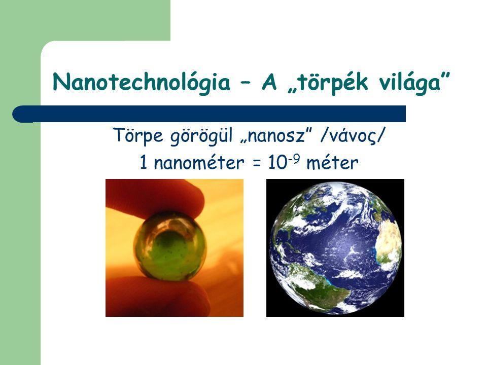 """Nanotechnológia – A """"törpék világa Törpe görögül """"nanosz /νάνος/ 1 nanométer = 10 -9 méter"""