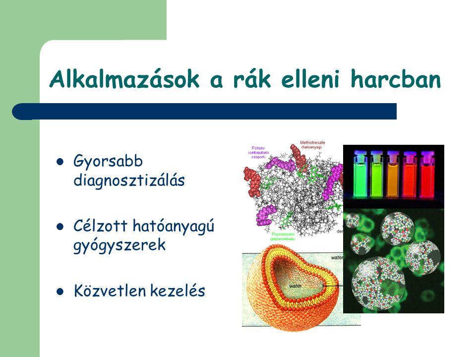 Alkalmazások a rák elleni harcban Gyorsabb diagnosztizálás Célzott hatóanyagú gyógyszerek Közvetlen kezelés
