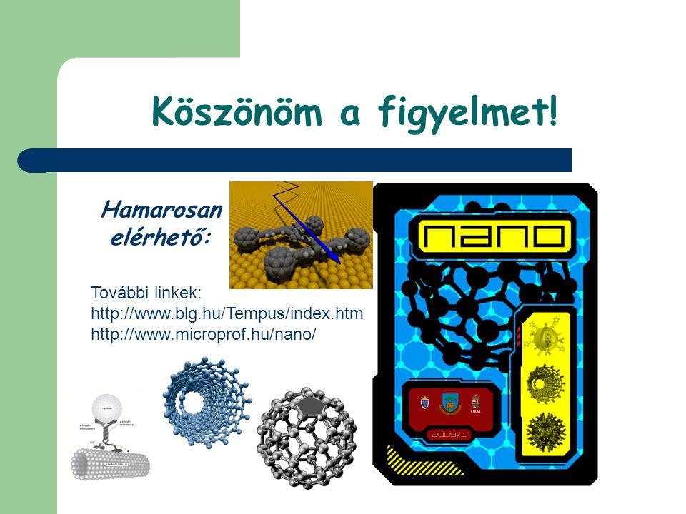 Köszönöm a figyelmet! Hamarosan elérhető: További linkek: http://www.blg.hu/Tempus/index.htm http://www.microprof.hu/nano/