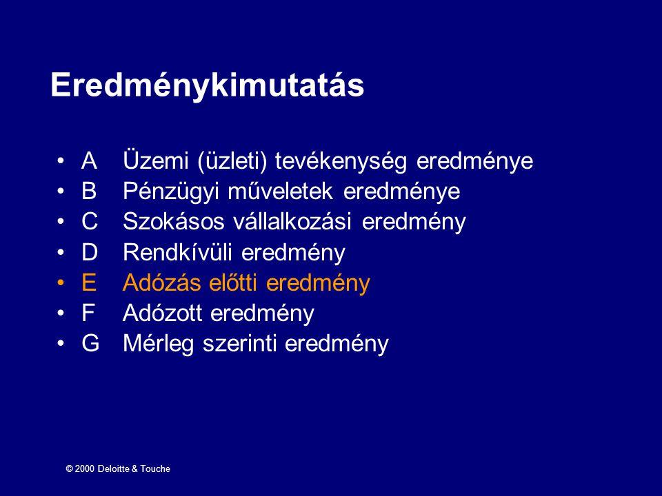 © 2000 Deloitte & Touche Eredménykimutatás AÜzemi (üzleti) tevékenység eredménye BPénzügyi műveletek eredménye CSzokásos vállalkozási eredmény DRendkí