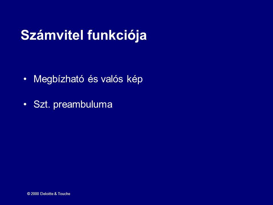 © 2000 Deloitte & Touche Számvitel funkciója Megbízható és valós kép Szt. preambuluma