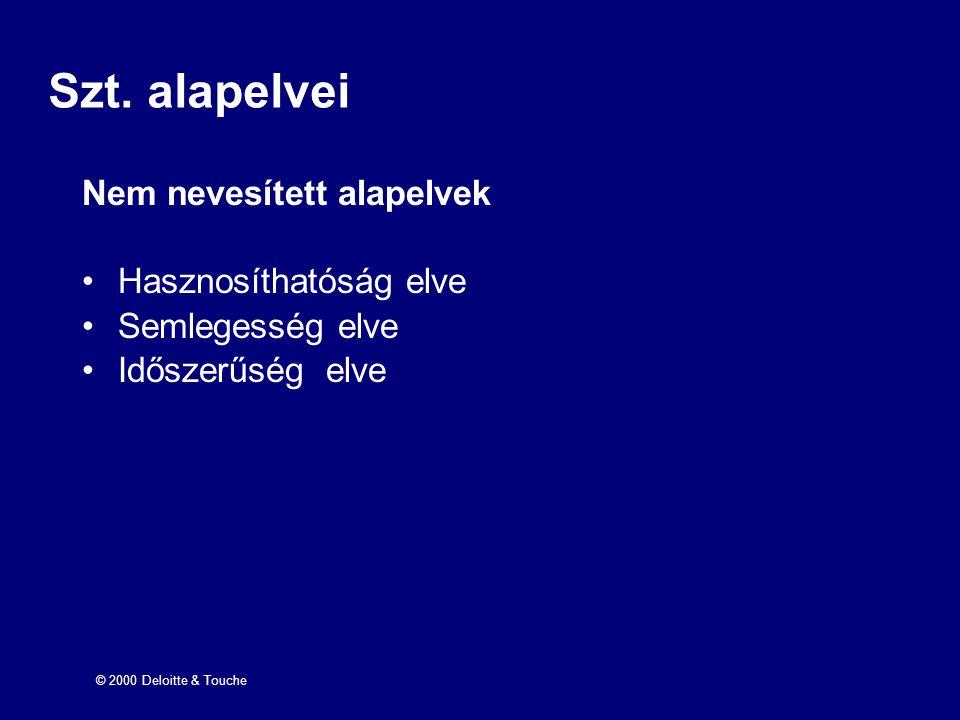 © 2000 Deloitte & Touche Szt. alapelvei Nem nevesített alapelvek Hasznosíthatóság elve Semlegesség elve Időszerűség elve