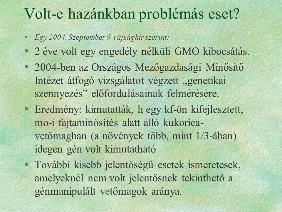 Volt-e hazánkban problémás eset? §Egy 2004. Szeptember 9-i újsághír szerint: §2 éve volt egy engedély nélküli GMO kibocsátás. §2004-ben az Országos Me