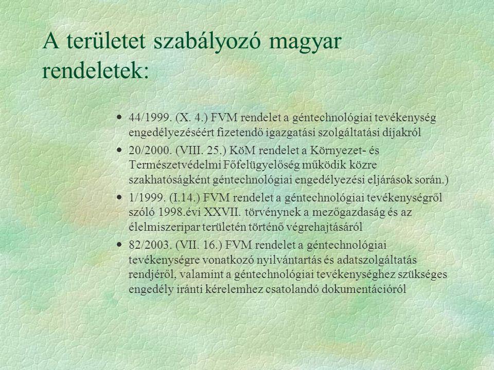 A területet szabályozó magyar rendeletek:  44/1999. (X. 4.) FVM rendelet a géntechnológiai tevékenység engedélyezéséért fizetendő igazgatási szolgált