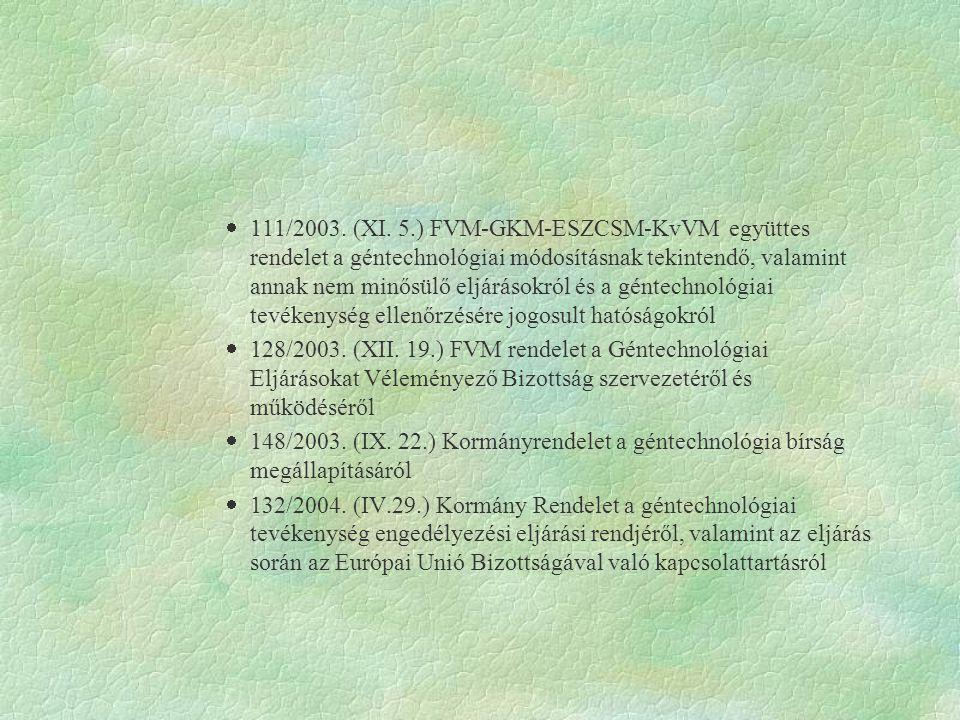  111/2003. (XI. 5.) FVM-GKM-ESZCSM-KvVM együttes rendelet a géntechnológiai módosításnak tekintendő, valamint annak nem minősülő eljárásokról és a g