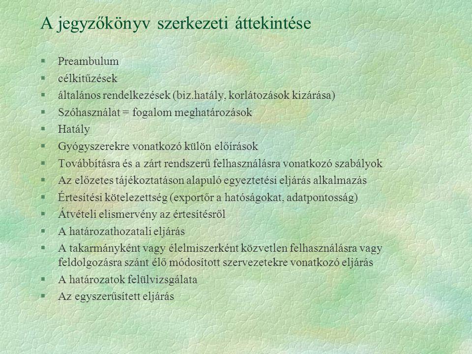 A jegyzőkönyv szerkezeti áttekintése §Preambulum §célkitűzések §általános rendelkezések (biz.hatály, korlátozások kizárása) §Szóhasználat = fogalom me