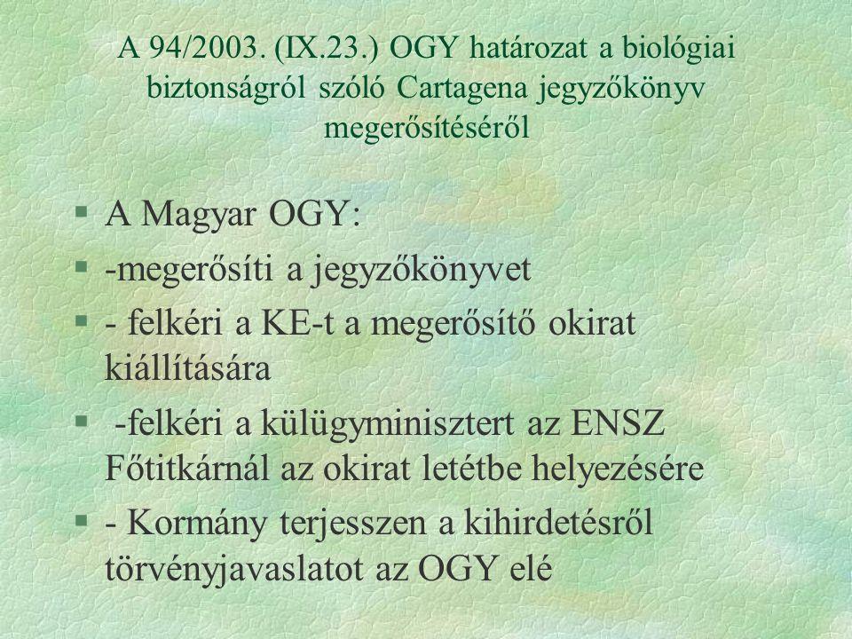 A 94/2003. (IX.23.) OGY határozat a biológiai biztonságról szóló Cartagena jegyzőkönyv megerősítéséről §A Magyar OGY: §-megerősíti a jegyzőkönyvet §-