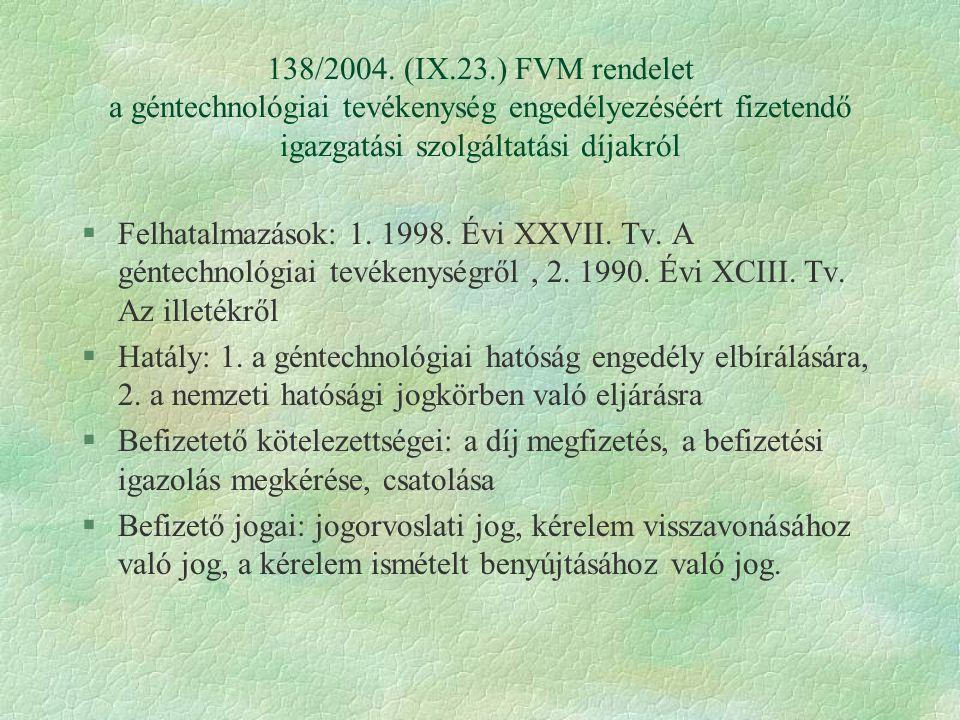 138/2004. (IX.23.) FVM rendelet a géntechnológiai tevékenység engedélyezéséért fizetendő igazgatási szolgáltatási díjakról §Felhatalmazások: 1. 1998.