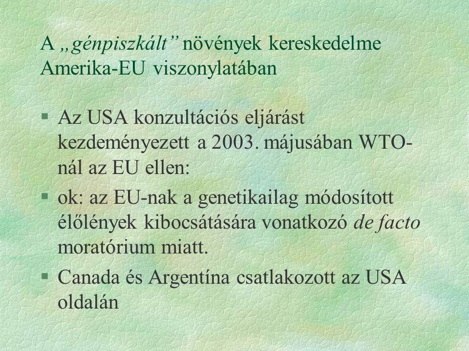 """A """"génpiszkált"""" növények kereskedelme Amerika-EU viszonylatában §Az USA konzultációs eljárást kezdeményezett a 2003. májusában WTO- nál az EU ellen: §"""
